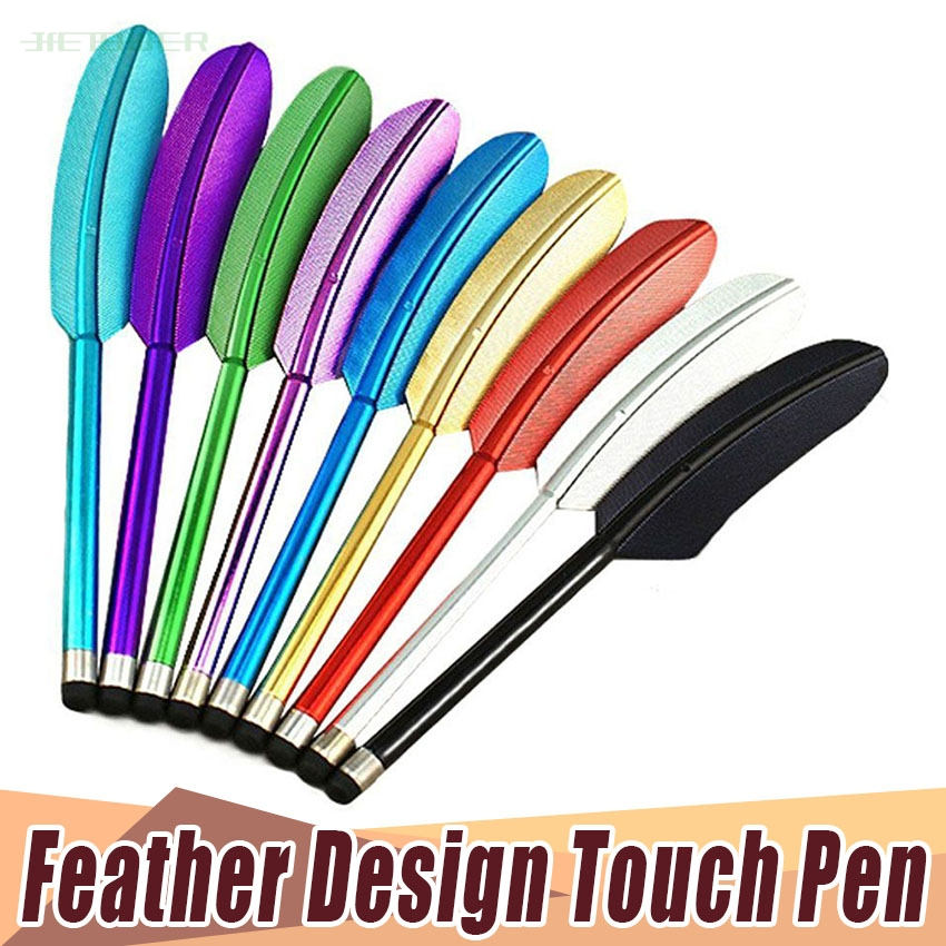 100pcs/lot Touch Screen Feather Stylus Pen Portable Touch Screen Pen Soft Capacitive Tablet Stylus For Iphone Ipad Smartphone