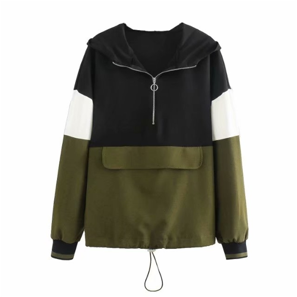 2020 Spring And Summer New Round Neck Long-sleeved Hooded  Jogging Sports Kangaroo Color-matching Coat Hoodie 05039435505