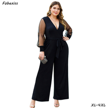 Rompers Womens Jumpsuit 2019 Fall New Transparent Mesh Long Sleeve With Belt Sexy V Neck Plus Size 4XL Elegant Black Jumpsuit