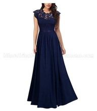 Big Discount Scoop Lace Navy Blue Chiffon Mother of The Bride Dresses Evening Party Dresses