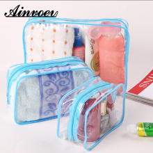 Ainvoev Travel Transparent Cosmetic Bag PVC Women Zipper Clear Makeup