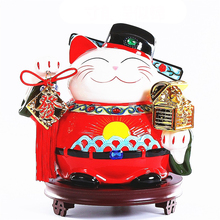 Chinese Lucky Cat Ornament Ceramic Creative Home Decoration Accessories Royal Feng Shui Decor Craft