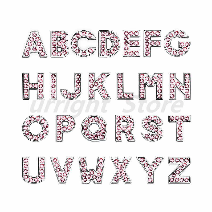 1 pieza A-Z Diamante de imitación Rosa plata letra inglesa alfabeto interno Dia: 8mm encantos de la letra de deslizamiento ajuste DIY llavero pulsera Collar de Mascota