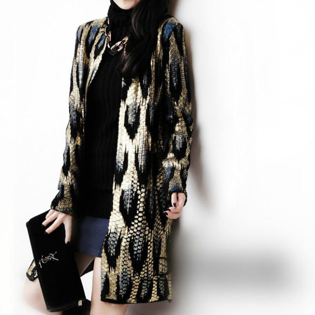 Autumn Leopard Bronzing Sweater Outerwear O neck Medium long Cardigan Shinny Golden Contrast color Jumper Sweater Tops