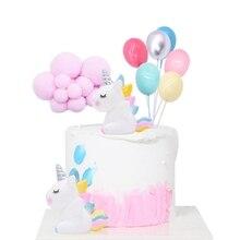 Arco Iris unicornio torta Decoración de cumpleaños de boda Decoración de Pastel de fiesta niños favores banderas para pastel Cupcake decoración unicornio fiesta suministros