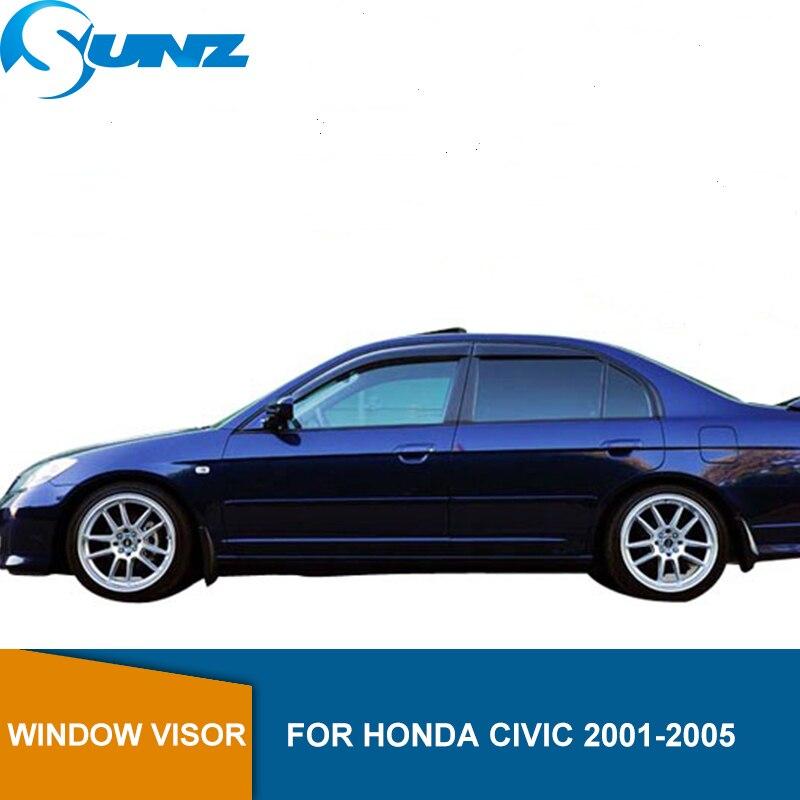 Side Window Deflector For HONDA CIVIC 2001 2002 2003 2004 2005 Sedan Window Visor Vent Shades Sun Rain Deflector Guard SUNZ
