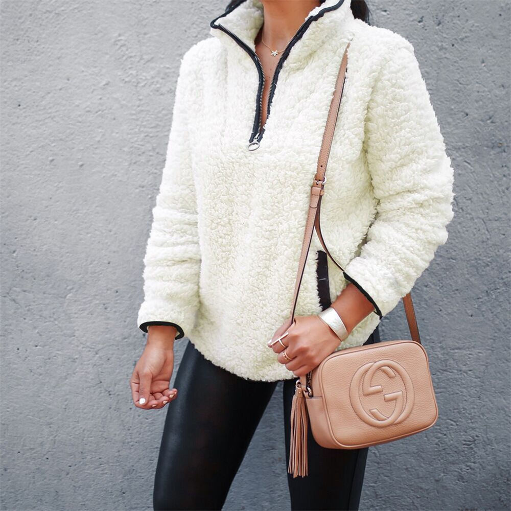Sherpa Turtleneck Sweater Fluffy Teddy Fleece Half Zipper Pullover Women Winter Fall Casual Sweaters Female Zip Pullovers
