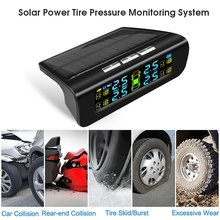 Wireless Solar TPMS LCD Car Tire Pressure Monitoring System with 4 External Sensors Automatic Alarm System