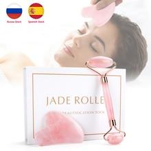 Beauty-Tool Skincare Jade Massager Ice-Roller Rose-Quartz Removal Wrinkle Natural