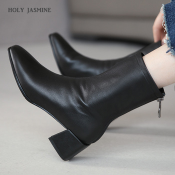 wetkiss 2018 new leather stretch women boots high heels sock bootie winter warm square toe shoes lady autumn high neck footwear 2020 Autumn Winter Newest Women Square Toe Ankle Boots Patent Leather High Heels Dancing Party Shoes Woman Fashion Stretch Boots