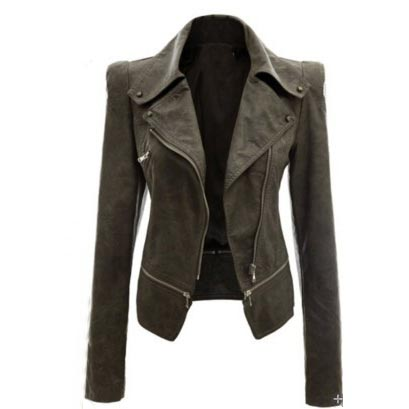 2018 Autumn Women Faux   Leather   Jacket Gothic Black Moto Coat Zippers Long Sleeve Goth Faux PU   Leather   Jackets