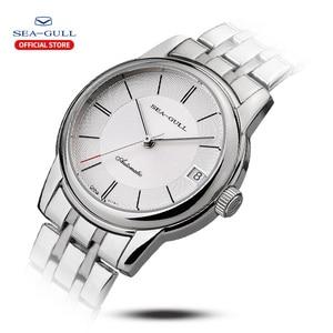 Image 2 - Seagull mens watch business steel belt automatic mechanical watch waterproof leather buckle sapphire mens watch D816.405