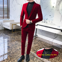 Elegant Wine Red Suits Mens Velvet Luxury Suits For Mens Groom Wedding Velour Suits Gentlemen Dress 2 pcs Flannel Green Burgundy