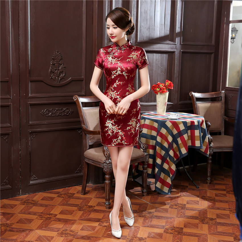 Vintage Mandarin Collar Women Qipao Classic Dragon Phoenix Cheongsam Sexy Slim High Slit Mini Chinese Dress Plus 4LX 5XL 6XL