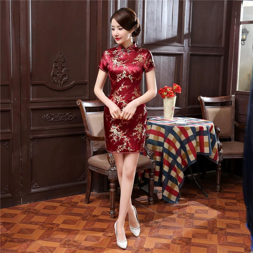 Vintage Mandarin Collar Women Qipao Classic Dragon Phoenix Cheongsam Sexy Slim High Slit Mini Chinese Dress Plus 4LX 5XL 6XL