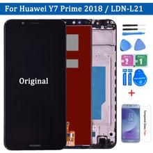 Conjunto digitalizador de tela touch, montagem de vidro + capa de moldura para huawei y7 prime 2018 LDN-LX1 LDN-LX2/ LDN-L21 LDN-L22