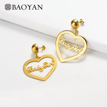 Baoyan Vintage Stainless Steel Earrings Gold Silver Plating Babygirl Statement Earrings Big Heart Drop Dangle Earrings For Women(China)