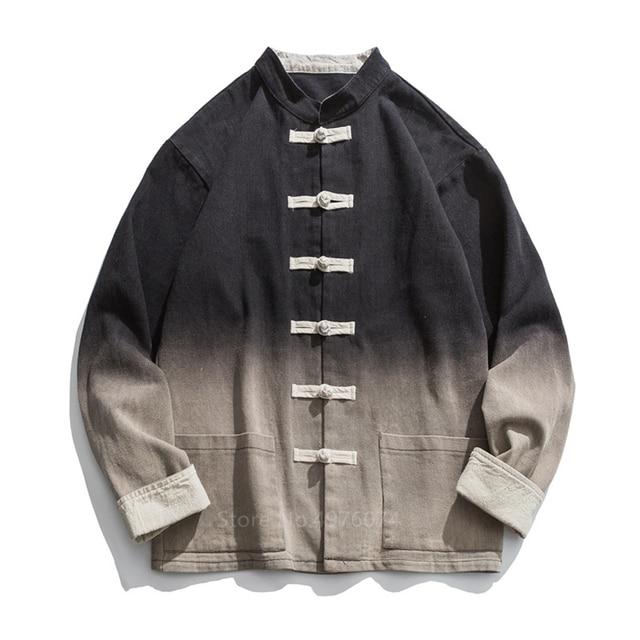 2020 Style chinois vêtements traditionnels pour hommes mode asiatique Tang costume mode dégradé Streetwear col montant chemise haute veste