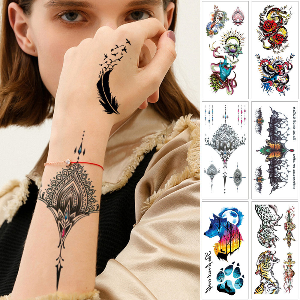 Woman temporary tattoo stickers tatuaje 3d Fake jewelry Lace for chest Body sexy tattoo Flower crown Wolf snake fake tattoos