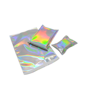 Image 3 - Bolsa adhesiva de papel de aluminio holograma, 100 unidades, bolsas de almacenamiento de mensajería, sobres, correo Postal