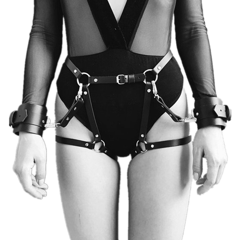 Sexy Leather Garter Belts Adjustable Waist Harness Garters With Sex Handcuffs BDSM Bondage Cosplay Costume Erotic Accessories