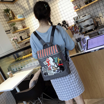 Women Bags Leather Patchwork Embroidery Backpack Girl Schoolbag Student Bag Travel Bag Braccialini Style Cartoon Seafood Market