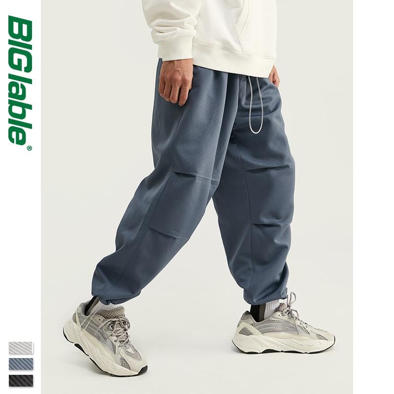 BIG LABLE 2019 FW Collection Men Cargo Pants Skater Fit Men Thin Cargo Pants Elastic Waist Men Streetwear Track Pants 93404W