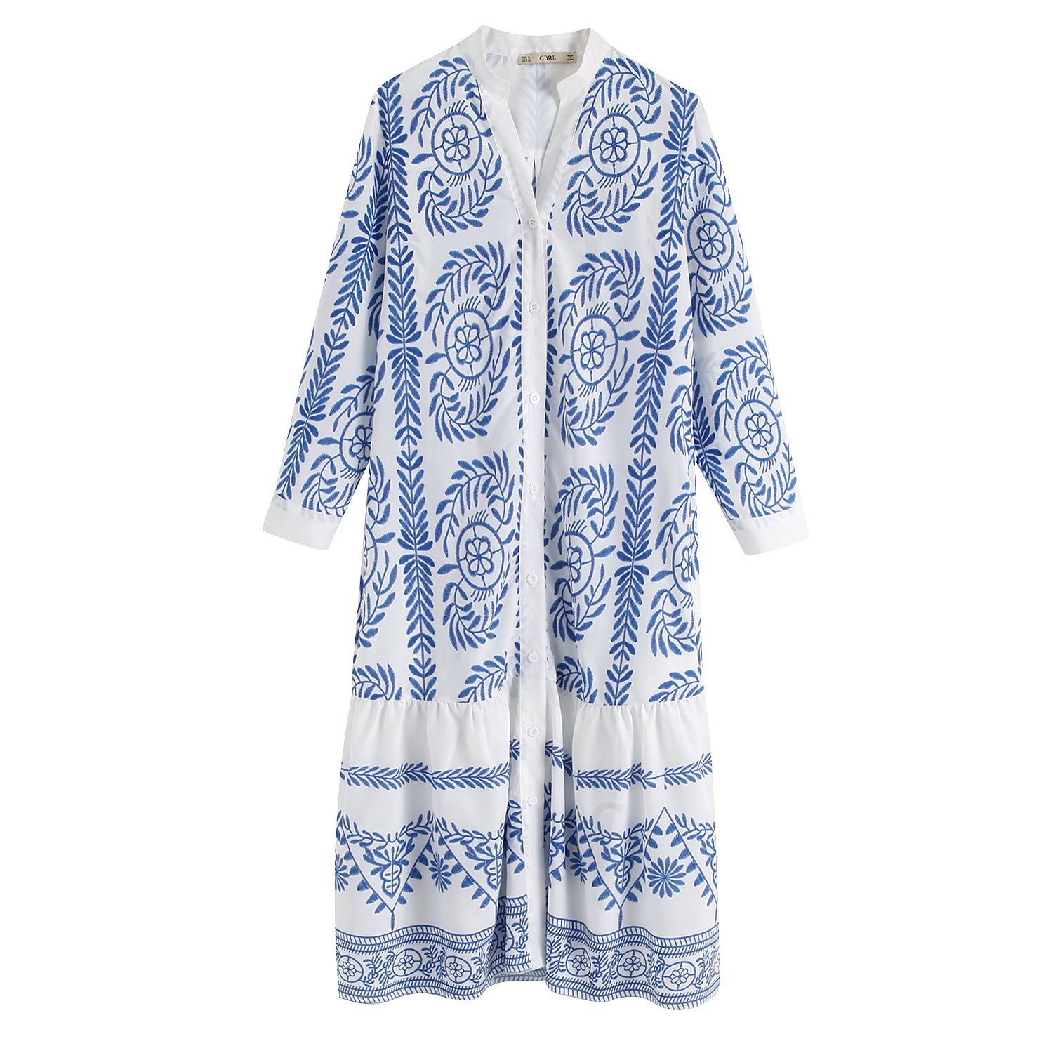 2019 Spring Europe And America WOMEN'S Dress New Style Blue Pattern Printed Long-sleeve Blouse-Dress 9643