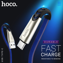 hoco cable usb a to type c fast charging data sync wire denim braided flat cord charger for Samsung Xiaomi Huawei Android phones цены