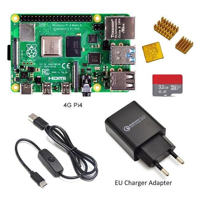 ラズベリーパイ 4 モデル b キットの基本的なスターターキットと在庫電源スイッチラインタイプ c インタフェース eu/米国充電アダプタとヒートシンク