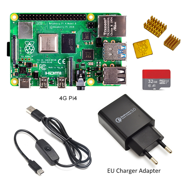 Raspberry Pi 4 Model B kit Basic Starter Kit in stock with power switch line type c interface EU/US Charger Adapter and heatsink