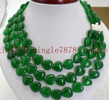 Jewelry Pearl Necklace 3 Row Natural 14x14mm Green Emerald Gemstone Heart Beads Necklace 17-19'' Free Shipping(China)