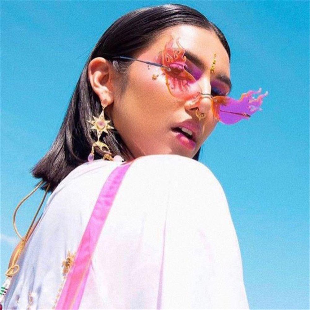 Fashion Fire Flame Sunglasses Brand Design Women Cat Eye Sunglass Luxury Rimless Sun Glasses Eyewear UV400 Shades Oculos de sol