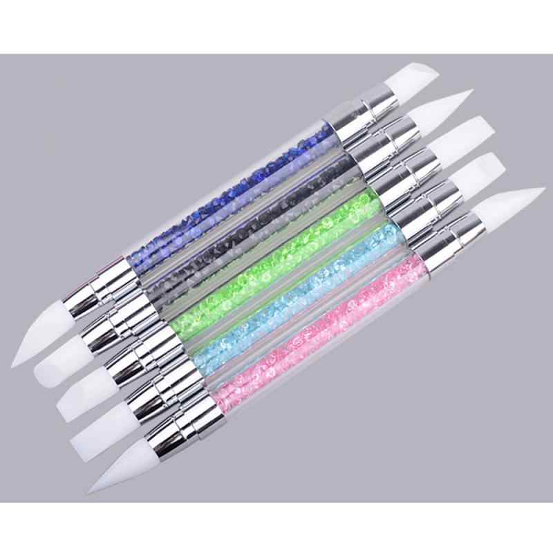 1Pc נייל פיסול מברשת מנקדים כלים 2 דרך פיסול עט 3D נייל אמנות סיליקון פיסול עט גילוף נייל אמנות כלי