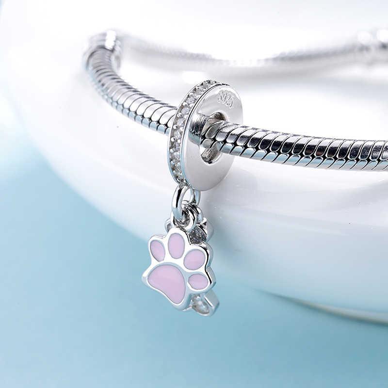 StrollGirl nowy 925 srebro różowy ślad psiej łapy charms łapa kota drukuj wisiorek koraliki fit bransoletka Pandora dla kobiet biżuteria