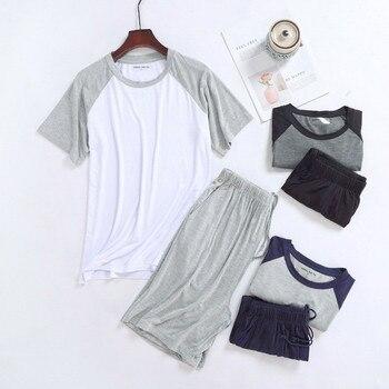 QWEEK Cotton Pijamas Hombre Plus Size Men Short Sleeve Pajamas Sets Pyjamas Summer Mens Homewear Casual Sleepwear 2020
