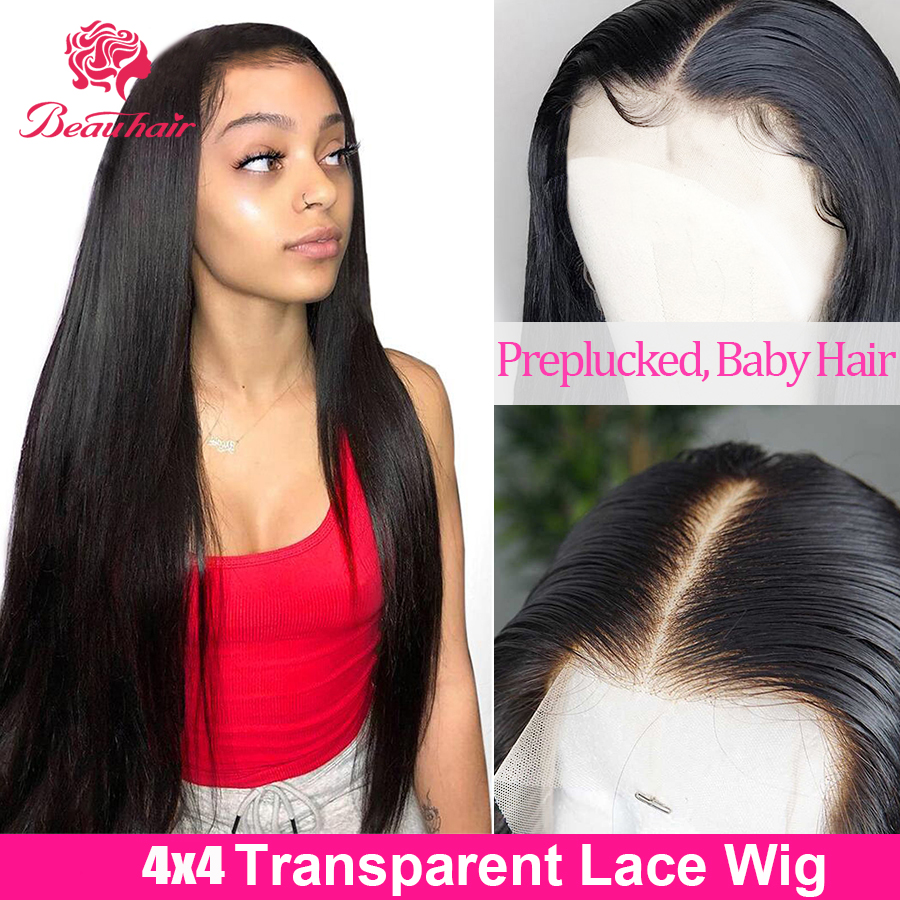 Transparent Lace Closure Wig 4x4 Lace Closure Human Hair Wigs Brazilian Human Hair Weaving Straight Pre-plucked With Baby Hair