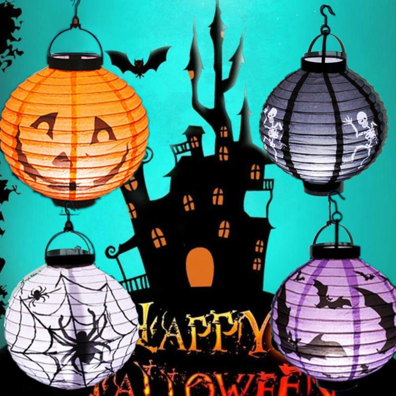 1pcs Halloween Decoration LED Paper Pumpkin Hanging Lantern Light Lamp Halloween Decorations For Home Horror Lantern Supplies