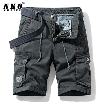 CHAIFENKO 2021 Summer New Cotton Cargo Shorts Men Casual Multi-Pocket Military Shorts Pants Loose Work Army Tactical Shorts Men