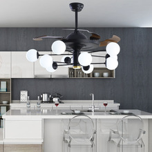 110V/220V LED Invisible Ceiling Fans Light Modern Chinese Retro Energy Saving Fan with Lights