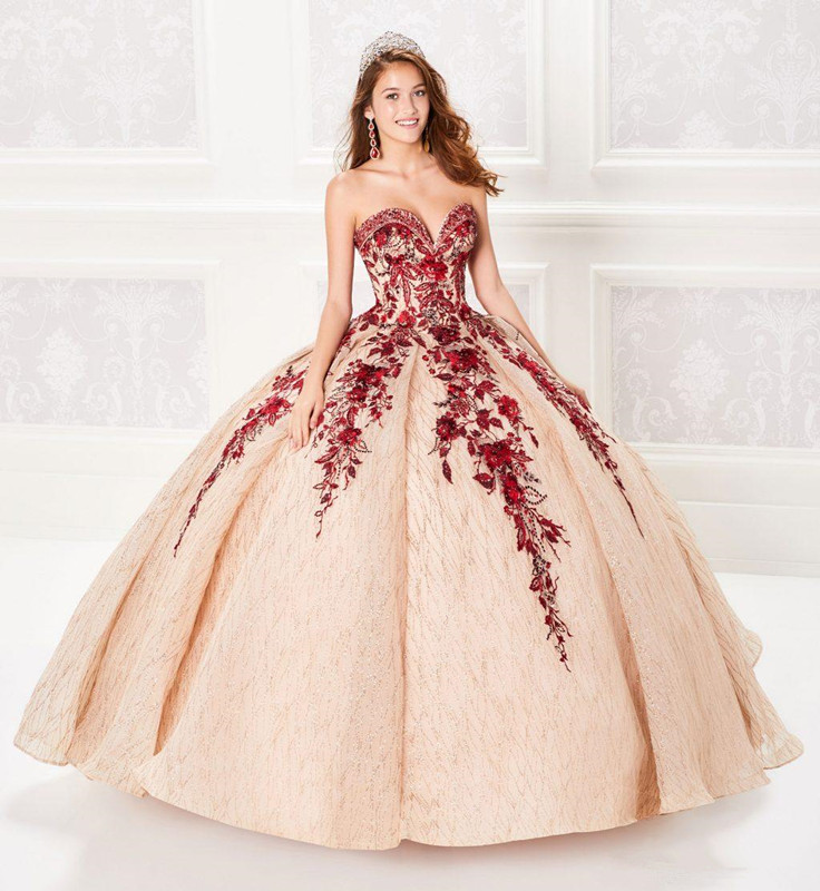 2019 Ball Gown Champagne Quinceanera Dresses Beaded Bodice Corset Red Appliqued Prom Dress Gorgeous Glitter Princess Gowns