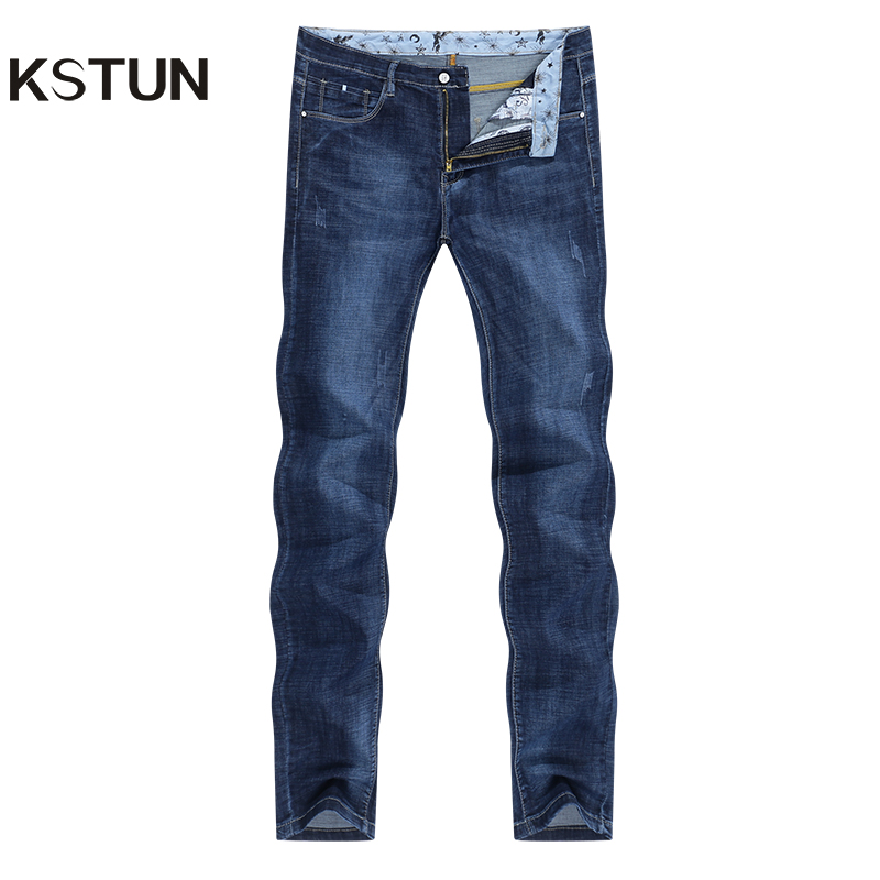 KSTUN Summer Jeans For Men Stretch Light Blue Denim Pants Slim Straight Regular Fit Casual Men's Clothes Wholesale Drop Shipping