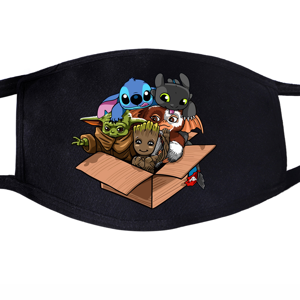 Baby Yoda Toothless Goot Stitch Cute Kawaii Lovely Face Mask Mouth 1pcs Dustproof Unisex Anti Dust Cycling Protective Masks