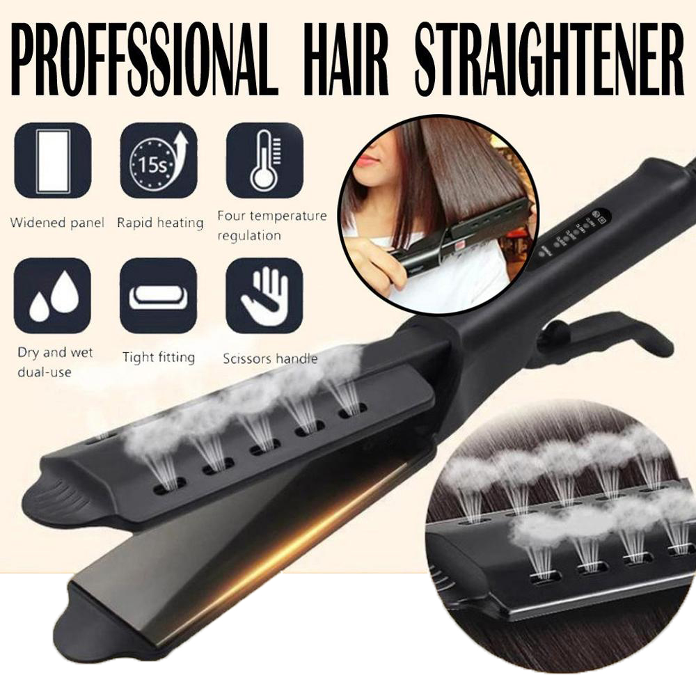 Hair Straightener Steam Flat Iron Four-Gear Hair Straightening Tourmaline Ceramic Professional Hair Straightener Styling Tool