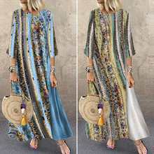 women's Printed Dress 2020 ZANZEA Summer Maxi Sundress Fashi