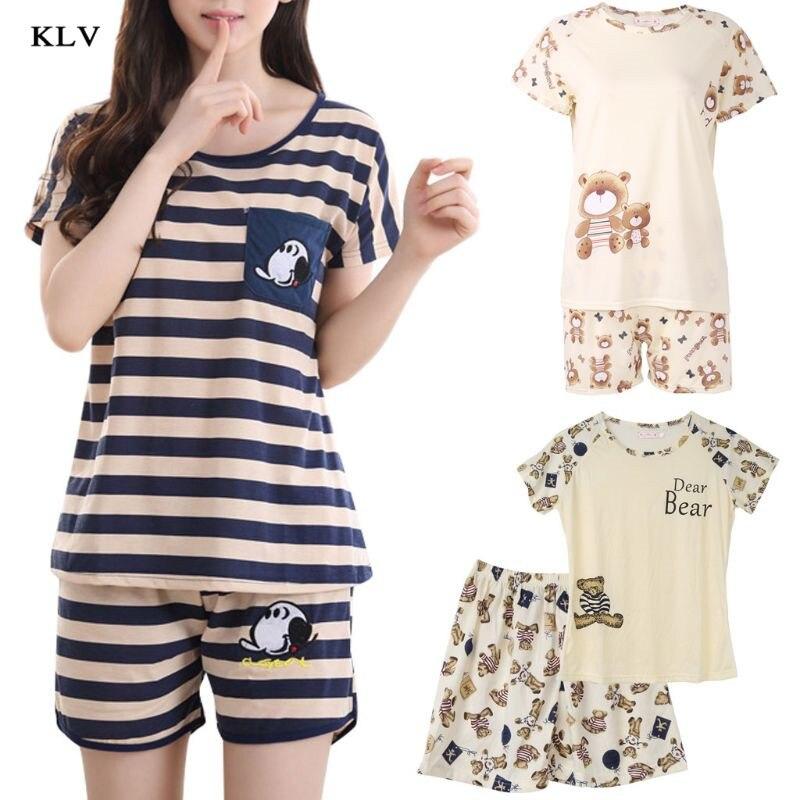 KLV Women Cartoon Pajamas Short Sleeve Cotton Pyjamas Set Home Nightwear Sleepsuit