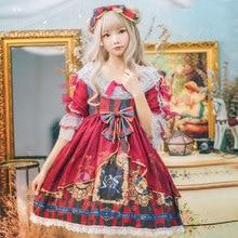 Милое Платье в стиле Лолиты, винтажное кружевное платье с бантом и рукавами-крылышками, с высокой талией, с принтом в викторианском стиле, kawaii, Готическая Лолита для девочек, op cos loli