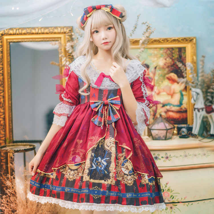 Sweet lolita dress vintage lace bowknot fly sleeve high waist printing victorian dress kawaii girl gothic lolita op cos loli