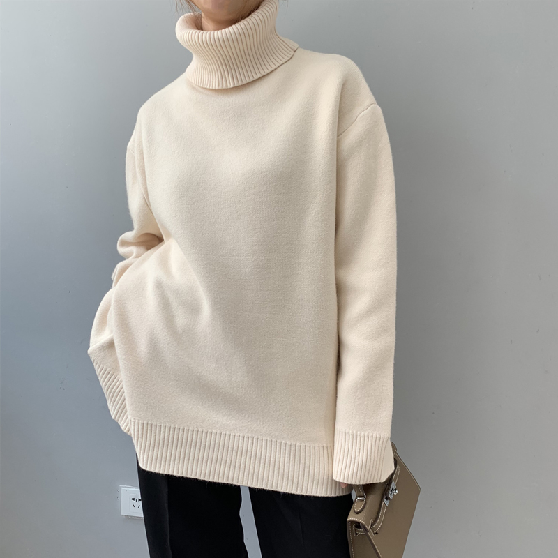 Winter Sweater 2019 Korean Version Of The Solid Color Thick Sweater Female Sweater Alpaca Long Sleeve