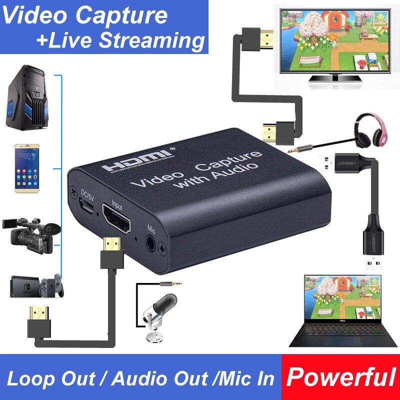 Карта видеозахвата 4K HDMI на USB 2,0 3,0 с выходом Loop Out, коробка для записи видео, для ПК, игр, прямой трансляции видео, записывающее устройство с ми...